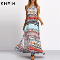 SheIn Ladies Sleeveless Dresses Woman 2016 Summer New Beach Casual Multicolor Vintage Print A Line Split