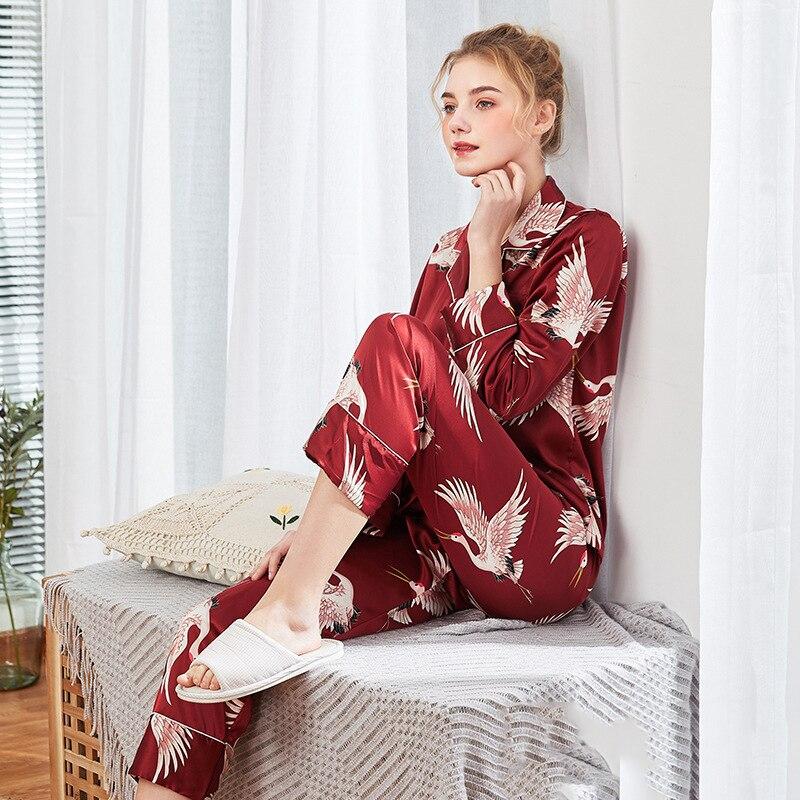 Vintage Print Crane Burgundy Women 2Shirt&Pant Sleep Set Lounge With Pocket Nightwear Home Clothes Satin Long Sleeve Sleepwear