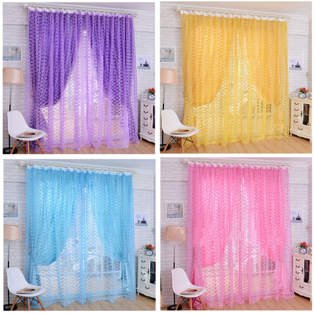 Sheer light pink curtains - Fashion Rose Clear Curtain Purple Pink Yellow Skyblue Tulle Window Screens Door Balcony Curtain Panel Sheer