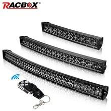 RACBOX 22 32 42 дюйма изогнутый прямой 5D светодиодный светильник двухрядный 200 Вт 300 Вт 400 Вт черный 12 В 24 В точечный комбинированный луч для Jeep UAZ