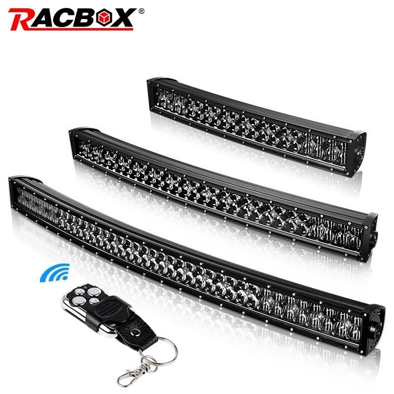 RACBOX 22 32 42 Inch Curved Straight 5D Lens LED Light Bar Dual Row Black Lenses 12V 24V Spot Flood Combo Beam For Jeep ATV UAZ