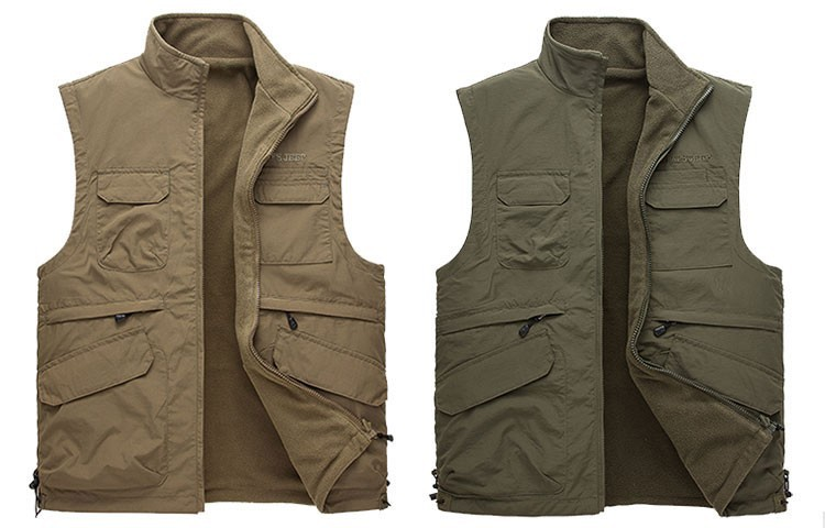 2015 Autumn Spring Casual Men Vest Coat Fleece AFS JEEP Cotton Multi Pocket 4XL Cargo Outdoor Sleeveless Jackets Waistcoat Vests (1)