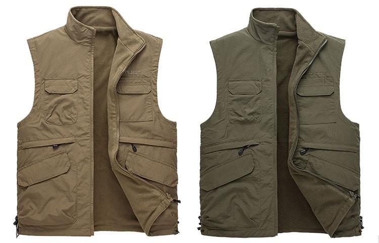 2015 Autumn Spring Casual Men Vest Coat Fleece AFS JEEP Cotton Multi Pocket 4XL Cargo Outdoor Sleeveless Jackets Waistcoat Vests (1)