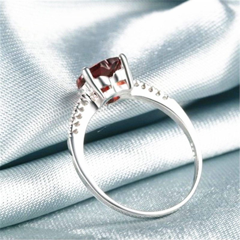 Image 4 - Hot Selling Ring Red 7mm*7mm Garnet 925 Sliver Crystal Jewelry For Wedding/PartyBirthday Free Shipping-in Rings from Jewelry & Accessories on AliExpress