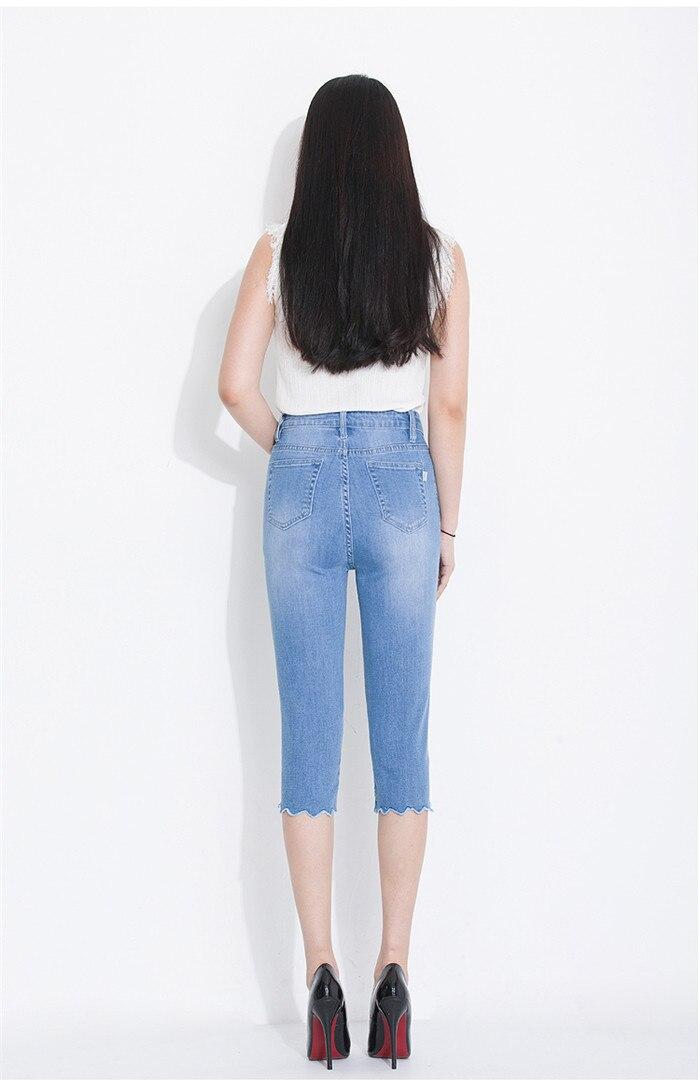 Sept De 650 Shorts Jeans Femmes Mince Élastique 2019 Lumière Était Abdomen Points Broderie Fleur Printemps tOYn6XqT