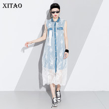 XITAO Hollow Out Perspective Midi Dress Women Turn Down Collar Mesh Stitching Denim Sleeveless Patchwork Koea Fashion KZH552(China)
