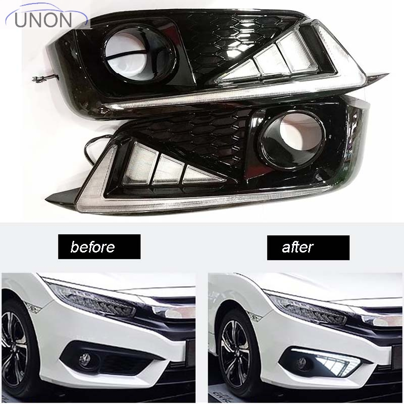 car-styling Car LED DRL Daytime Running Lights Accessories with Fog Lamp hole For Honda Civic 10th 2016 2017 for honda civic 2016 2017 2018 turn signal relay car styling waterproof 12v led car drl daytime running lights fog lamp cover