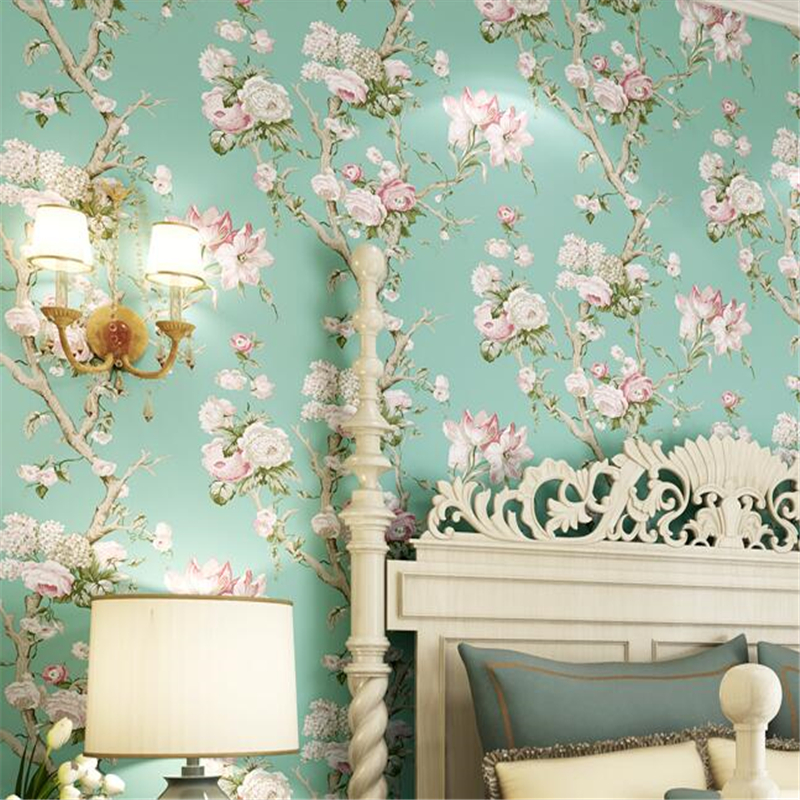 Beibehang large flower wallpaper bedroom living room - Papel de pared retro ...