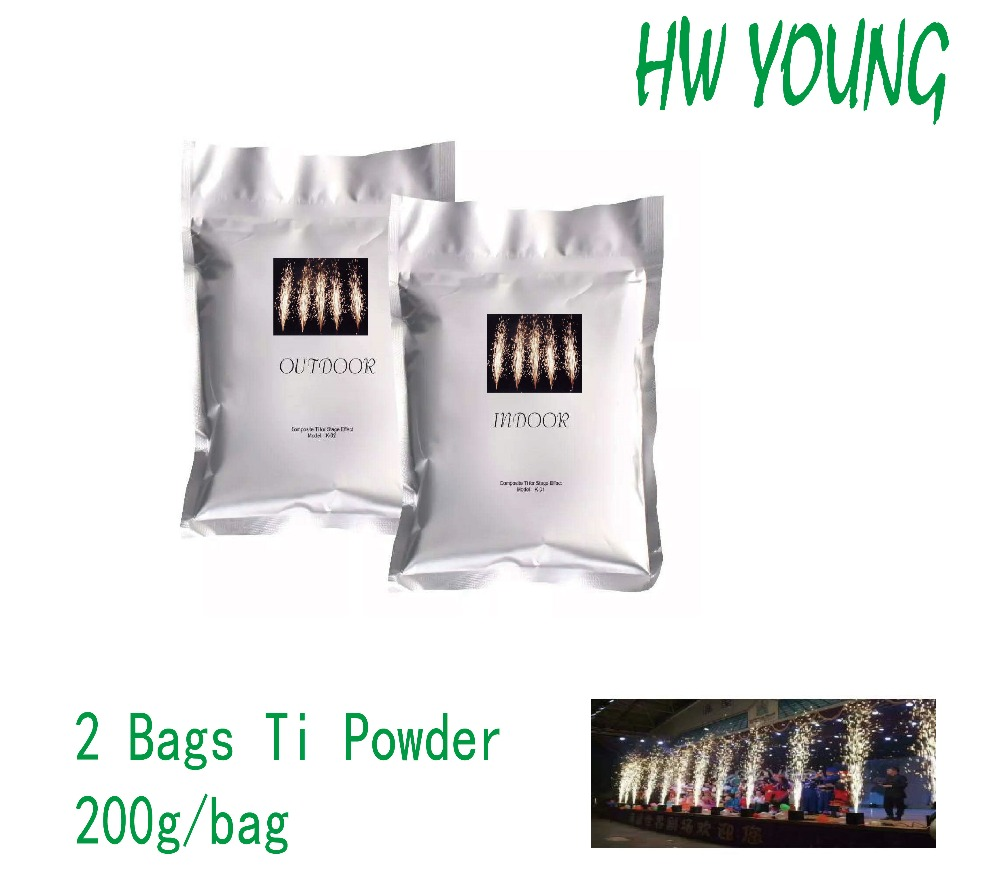 HWyoung 2 bags pre200g Ti powder cold sparklers machine firework indoor wedding fountain DMX display fireworks
