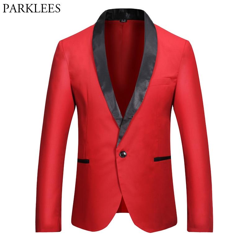 Mens Red Tuxedo Blazer 2018 Fashion Slim Shawl Collar Single Breasted One Button Suit Blazer Jacket Men Wedding Costume Homme