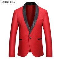 Red Blazer Men 2017 Brand New Single Button Men Blazers Slim Fit Black Patchwork Collar Casual