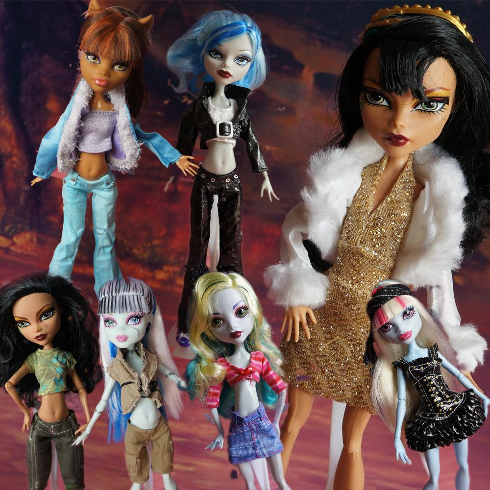 Monster Hight A Lot = 5 sets Fashion Clothes/ Dress Outfit Wear Blouse Trousers Shorts Pant Skirt Original Monster Doll High DIY ...