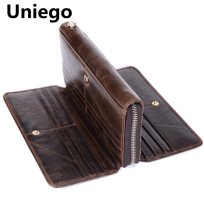 Uniego 2018 Genuine Leather Male Wallet Multifunctional Long Clutch Zipper Men Coin Purse Card Holder Large Capacity Wallet HB78 100% genuine leather men wallet long zipper men purse clutch bag phone card holder male coin purse brand high quality designer
