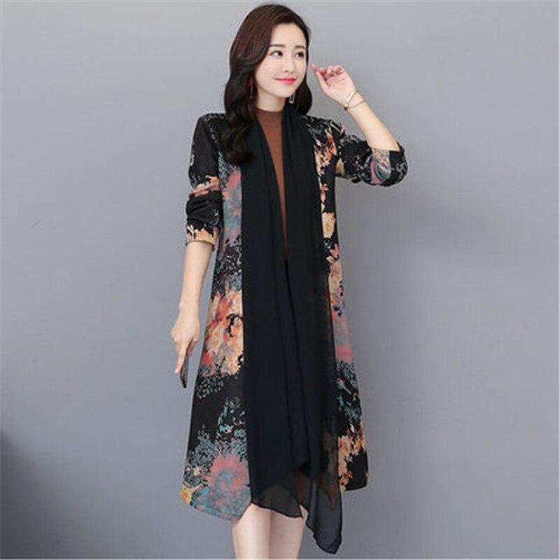 2019 New Spring Summer Korean Printing Fashion temperament Chiffon   Trench   Coats for Women Sun protection clothing X492