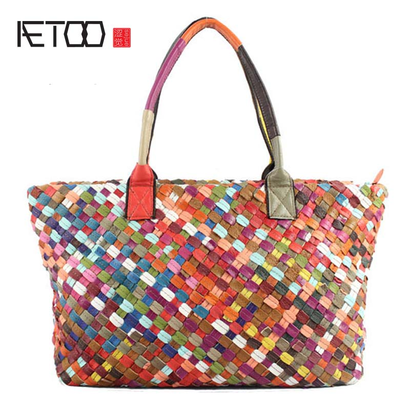 AETOO 2017 spring and summer new original single weaving ladies hand shoulder diagonal package 100% genuine leather handbag new 2017 summer 100