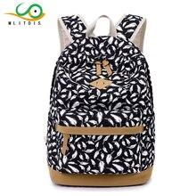 Mlitdis женщин рюкзак для девочек-подростков школьные сумки Рюкзак Back Pack Холст Симпатичные перо печать рюкзак для детей 2017