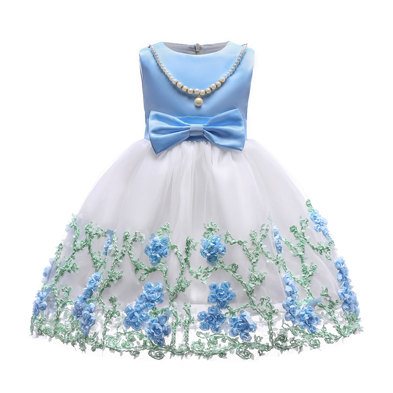 New Designed Toddler Girls Embroidery Mesh Princess Dress with Beading and Bow Spring Summer Dancing Dresses Big