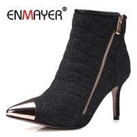ENMAYER Female Denim Knight Boots Metal Pointed Toe High Heel Women Ankle Boots Warm Autumn Winter