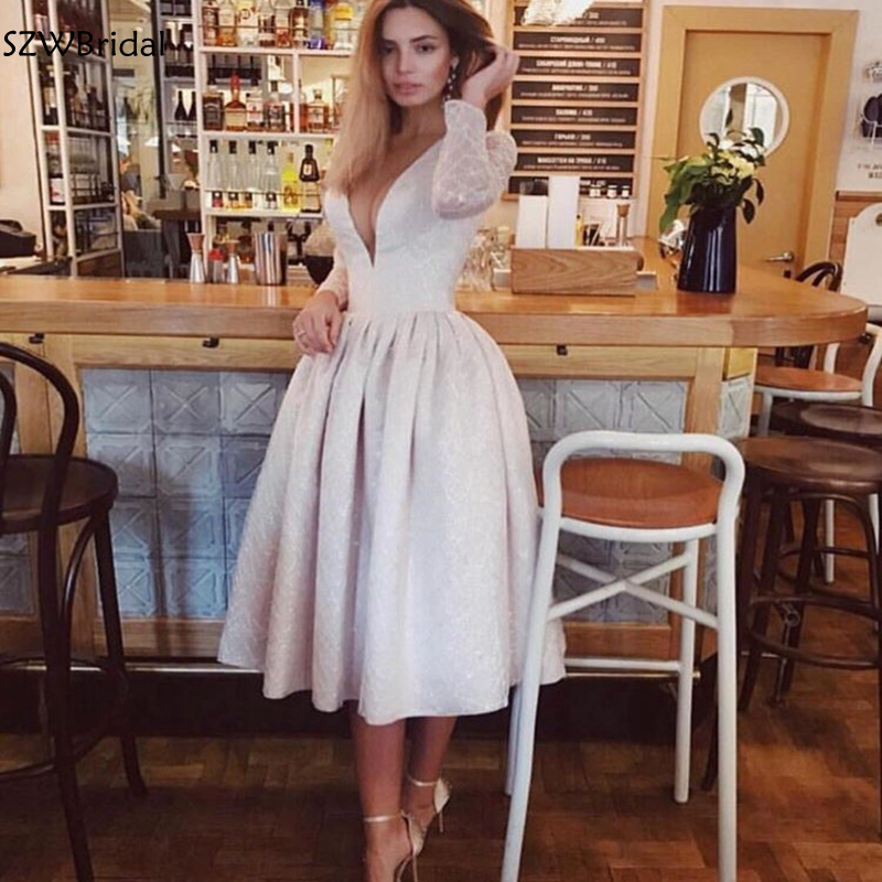New Arrival V Neck Long sleeve   evening     dresses   Dubai Arabic Short   evening     dress   Cheap   dress   party formal   dress   women elegant