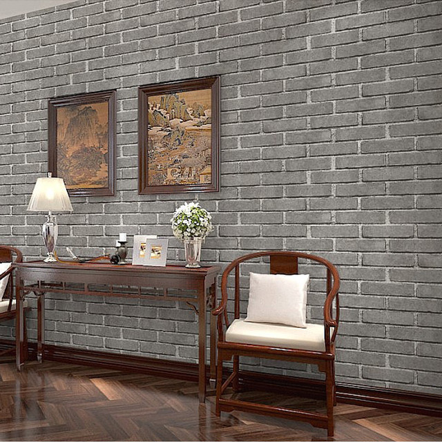 Buy chinese antique stone brick 3d for Grey brick wallpaper living room