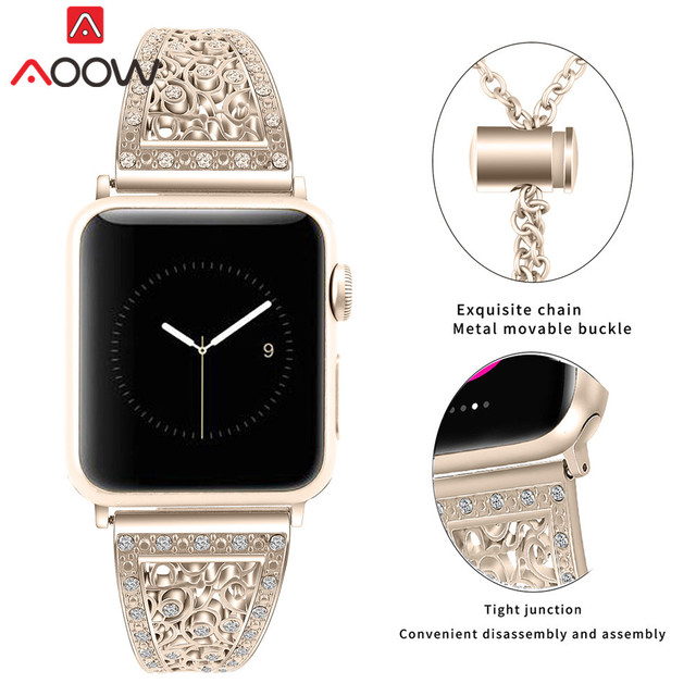Stainless Steel Bracelet for Apple Watch 38mm 40mm 42mm 44mm Luxury Metal Diamond Women Watchband Strap Band for iwatch 1 2 3 4