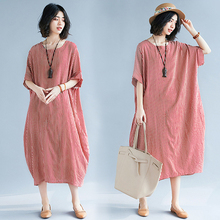 Spring and summer new style Literary loose large size dress Striped short-sleeved mid-length