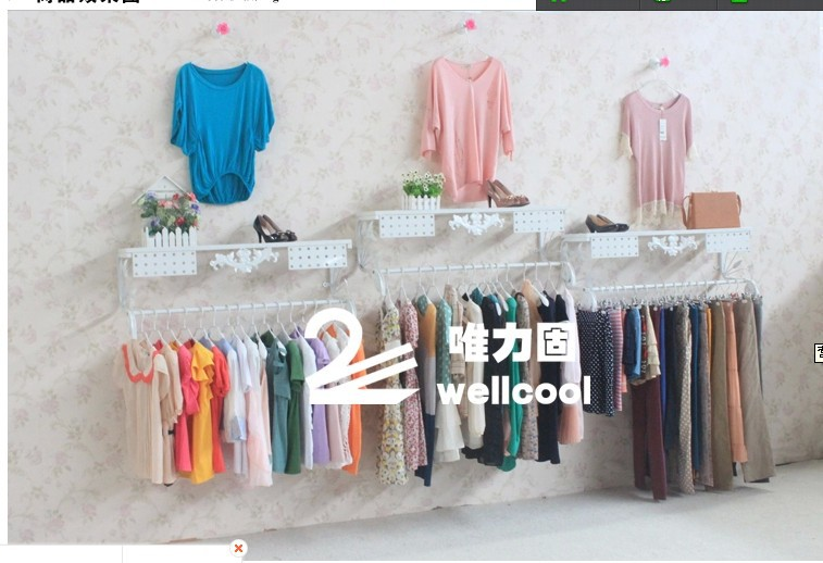 Brand new high quality direct European rural wall clothing hangers on display shelves display shelf