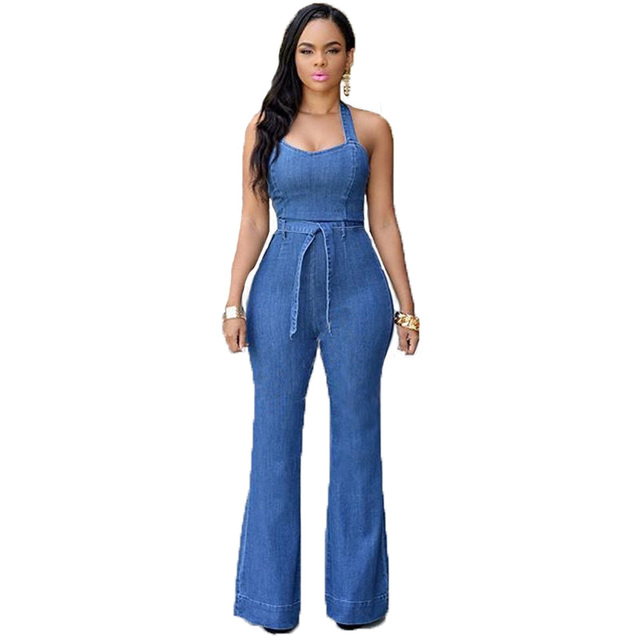 Sexy hanging neck with belt denim overalls women Sleeveless Full Length Denim Jeans Jumpsuit Slim casual Bodysuit denim jumpsuit