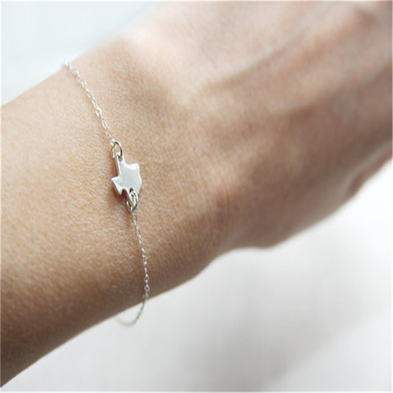 US $1 55 22% OFF|Aliexpress com : Buy New Fashion Tiny Texas State Bracelet  Texas Bracelet in gold/silver Personalized Map Bracelet Map jewery for