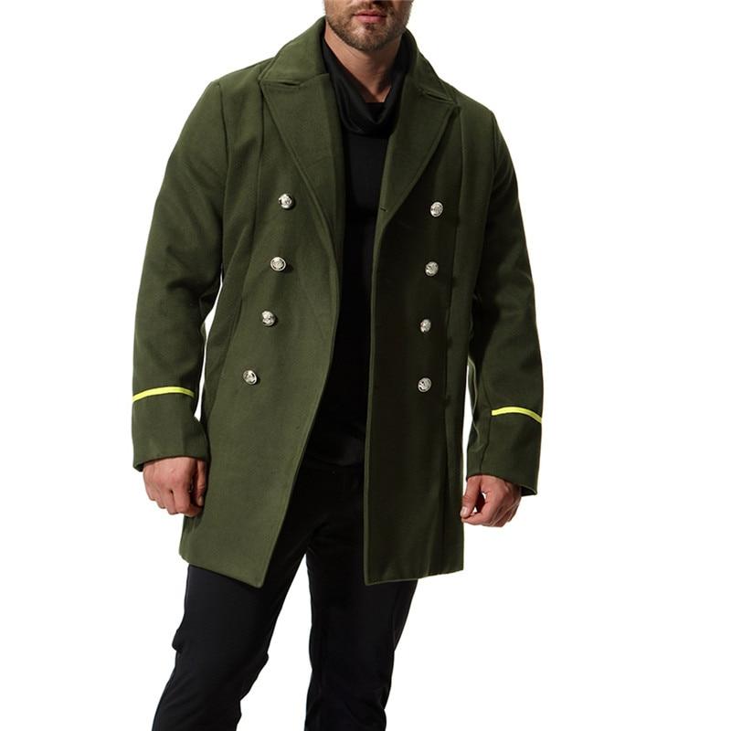Autumn new European and American style models coat fine wool woolen coat Men's Long section Army green Windbreaker Size XXL