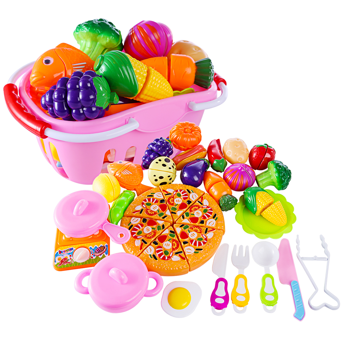 Surwish 32Pcs Funny Children Pretend & Play Toy Emulational Vegetables Fruits Cutting Kitchenware Set for KidsSurwish 32Pcs Funny Children Pretend & Play Toy Emulational Vegetables Fruits Cutting Kitchenware Set for Kids