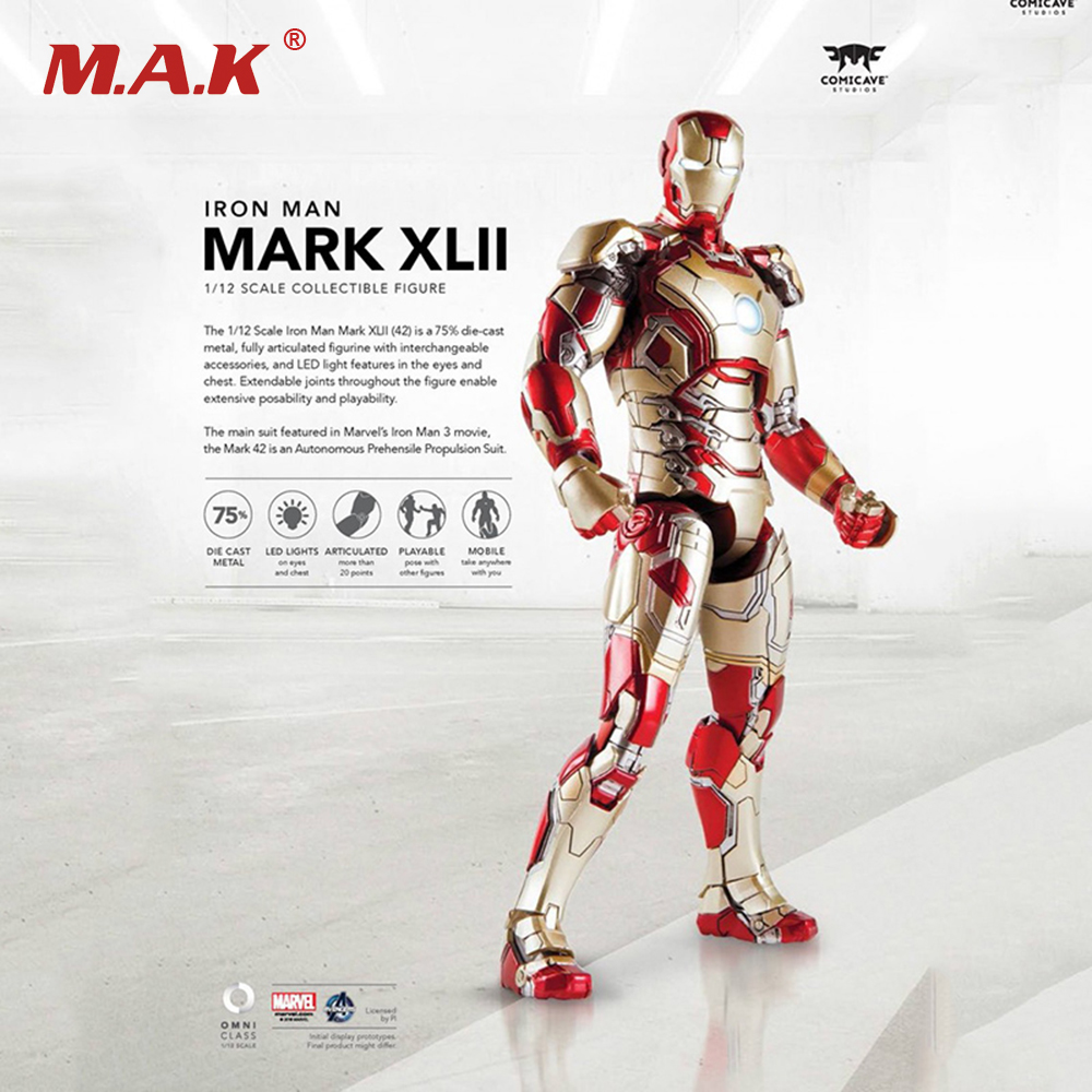 1/12 Scale Iron Man Full Set Action Figures MK42 Collections Displays Boys Toys Brinquedos LED b101xt01 1 m101nwn8 lcd displays