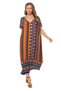 Image 2 - Muslim Womens Nightgown Plus Size V neck Sleepwear Short Sleeve Nightdress Home Dress Fashion Nightwear XXL Big Size Nightshirt