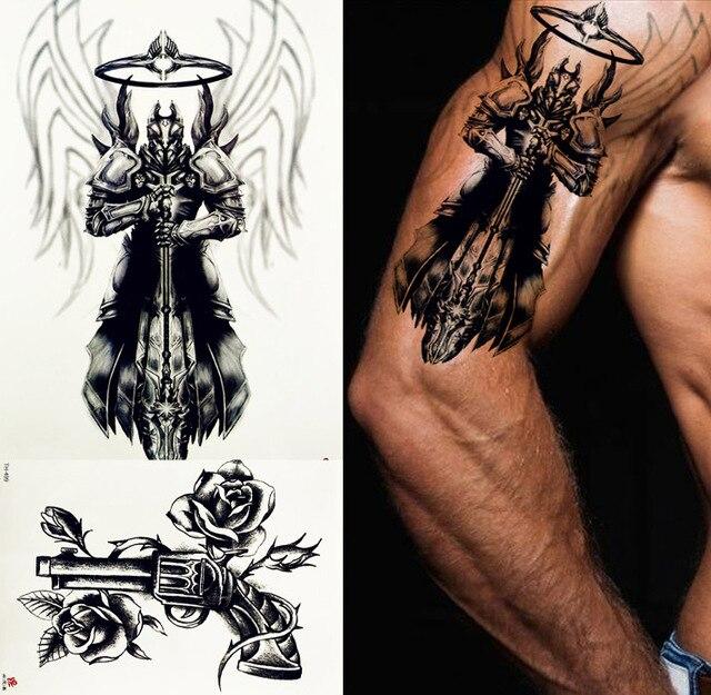 REJASKI Wing Knight Armor Warrior Sword Temporary Tattoo Sticker Gun ...