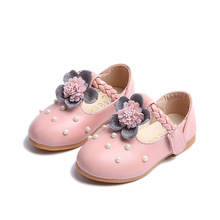Купить с кэшбэком Pink Spring Autumn New Children Princess Shoes For Toddler Baby Girls Party Wedding Single Shoes Kids Flower Leather Shoes 1-8T