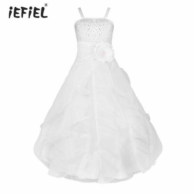 Iefiel/белый Платье для девочек с цветочным узором пол Длина торжества Свадебная вечеринка формальный повод без рукавов Обувь для девочек цветок тюль Платья для женщин