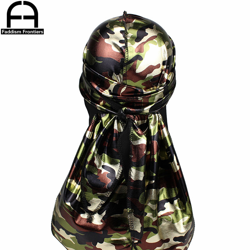Fashion Men 39 s Camo Silky Durags Turban Headband Shiny Print Men Silk DuRag Headwear Bandanas Hair Accessories Doo Rag Pirate Hat in Men 39 s Headbands from Apparel Accessories