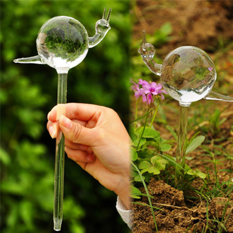 Shipped from The United States Clear 2PCs for Garden Plant Watering Device Indoor Automatic Cute Birds Snail Swan Glass