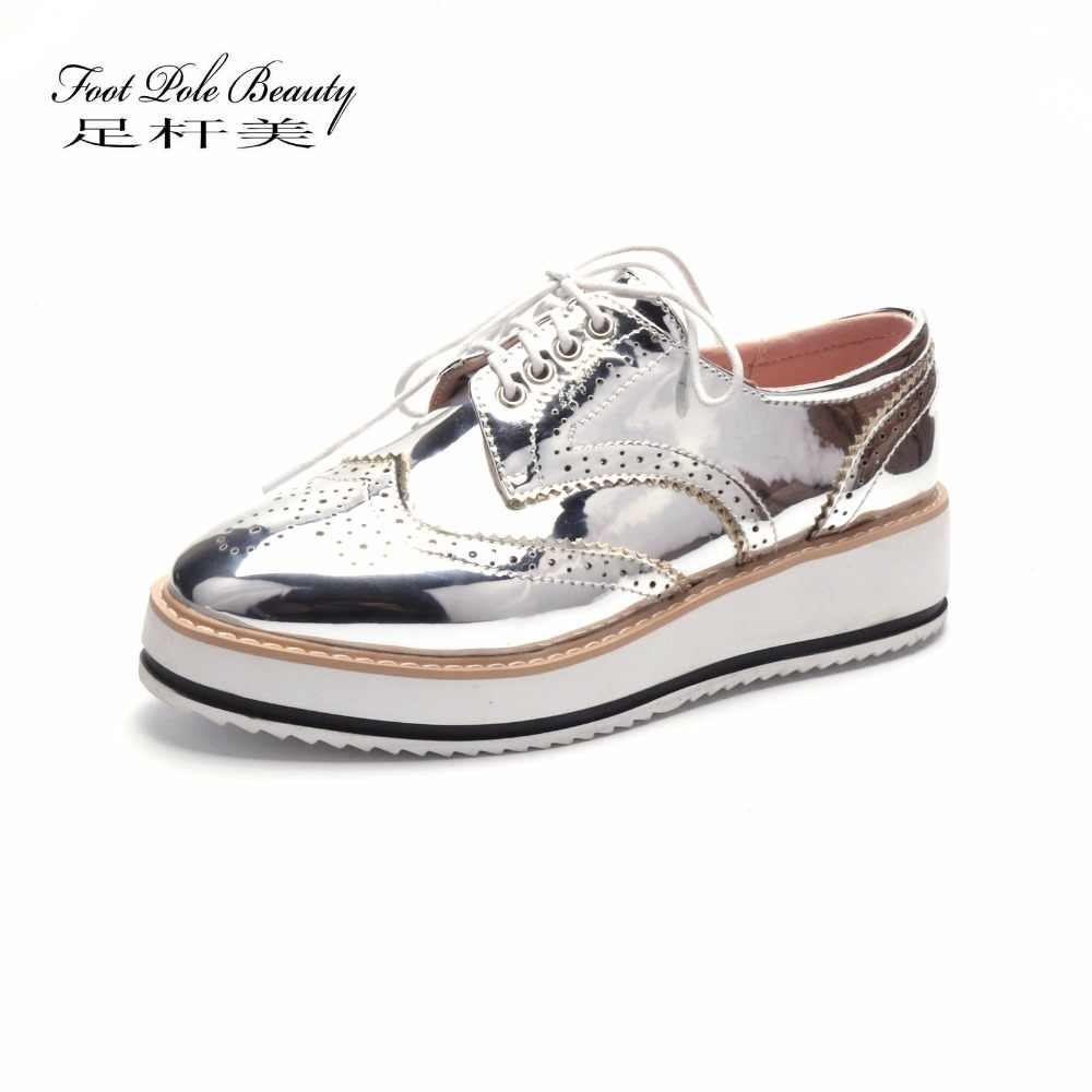 33a1f7f131010 Vintage Bullock oxfords Lace Up Metallic silver platform Vintage oxford  flat women's shoes Patent leather Creepers