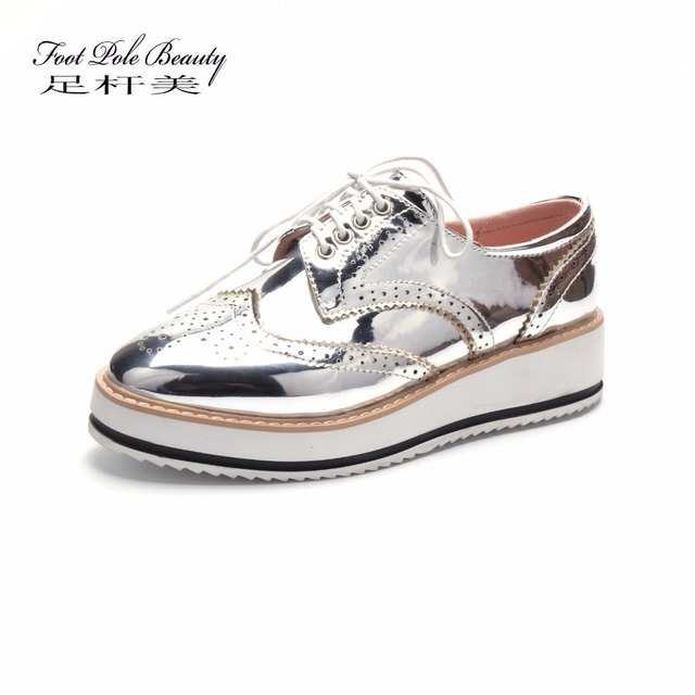 f1b8746bfe Vintage Bullock oxfords Lace Up Metallic silver platform Vintage oxford  flat women's shoes Patent leather Creepers large size 43