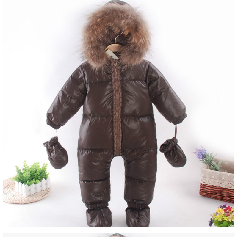 2018 baby clothes winter feather down snowsuit brown baby outwear raccoon fur collar baby boys jumpsuit toddler warm jacket