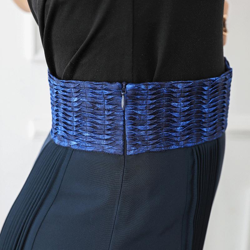 Parti D'éléphant Soie Pantalon Grande En Voa Taille Marine Vintage Long Haute Pattes Pantalons Automne Bleu Femmes K569 SwTxW