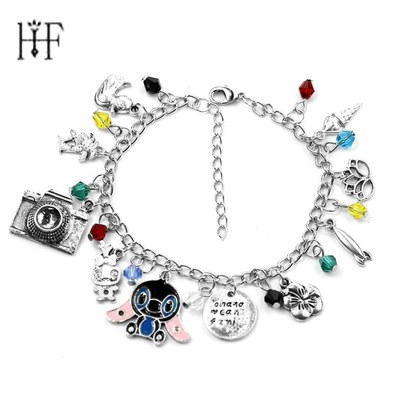 Lilo and Stitch Charms Lobster Clasp Bracelet Bangle Ohana means family Jewelry with Flower,Crystals Lilo & Stitch Bracelet