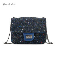 Luxury Brand Chains Flap Bag Women Small Tweed Bag Mini Sequined Party Bag Blue Handbag Sheepskin