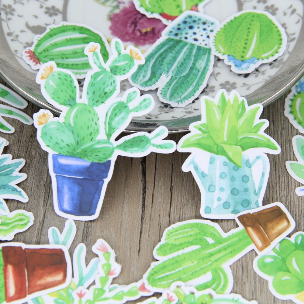 21pcs self made drawing watercolor cactus plant scrapbooking stickers green plants decorative sticker diy craft decals deco