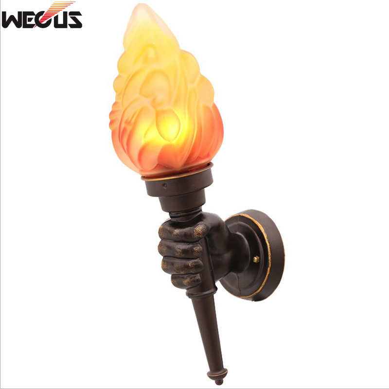 (WECUS) Retro industrial wall lamp creative personality cafe hall aisle corridor bar decoration torch wall lamp