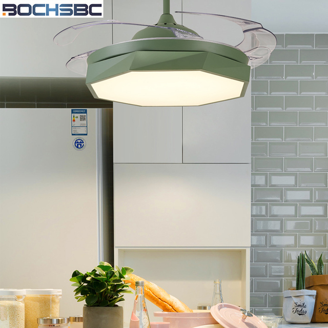 Us 397 1 5 Off Bochsbc Invisible Plastic Ceiling Fan Lights For Dininig Room Bedroom Study Room Simple Modern Fan Hanging Light With Led Bulbs In