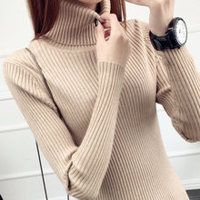 Autumn Winter Women Turtleneck Pullovers Sweater Knitted Elasticity Casual Jumper Fashion Slim Turtleneck Warm Female Sweaters(China)