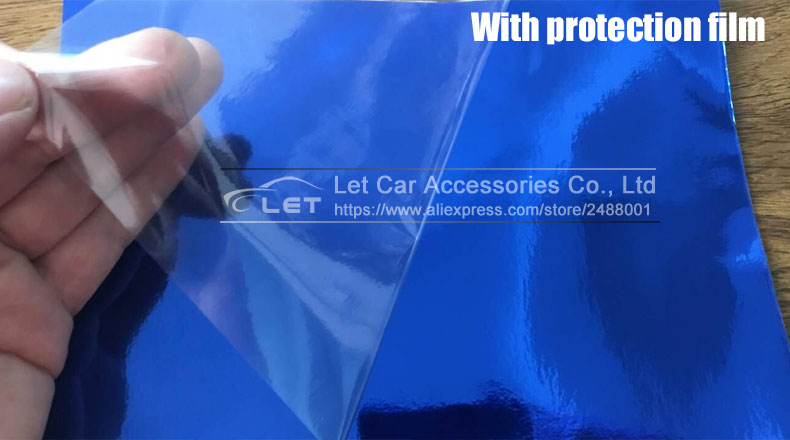 Image 5 - car styling High stretchable Waterproof UV Protected Blue Chrome Mirror Vinyl Wrap Sheet Roll Film Car Sticker Decal Sheet-in Car Stickers from Automobiles & Motorcycles