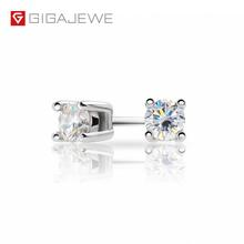 GIGAJEWE EF Round Cut Total 0.2ct Diamond Test Passed Moissanite 18K Gold Plated 925 Silver Earrings Jewelry Girlfriend Gift